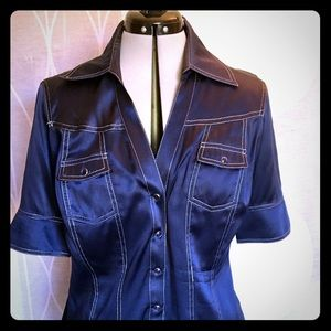 Cache navy silk blouse with silver stitching